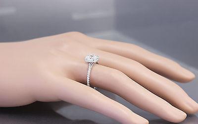 GIA H-SI1 14k White Gold Cushion Cut Diamond Engagement Ring Halo Deco 1.20ctw 3