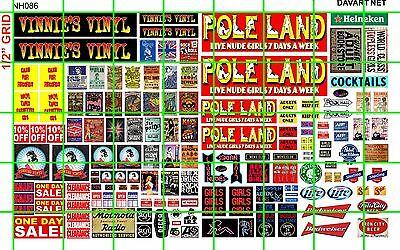 NH086 1/2 Set N SCALE BIZ POLE LAND STRIP CLUB VINNIES VINYL SET DAVE'S DECALS