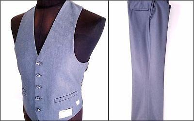 Vintage Mens Waistcoat Vest Suit Pants 2 Pc Size 42 W40 Costume Gatsby Gray New  - Gatsby Costume Mens