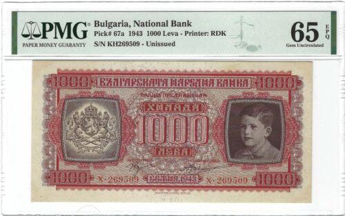 BULGARIA National Bank 1000 Leva 1943, P-67a, PMG 65 EPQ Gem UNC, Rare Type