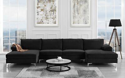 Modern Large Velvet U Shape Sectional Sofa, Double Wide Chaise Lounge, -