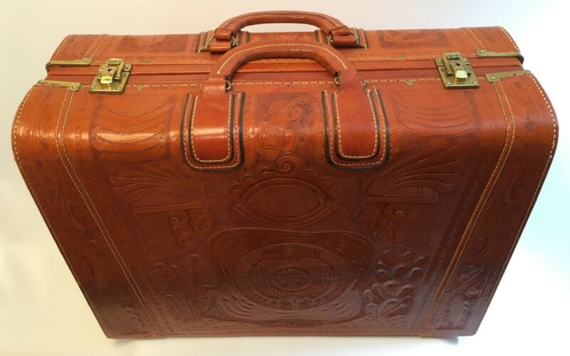 Mid-Century Hand Tooled Leather Suitcase made in Mexico