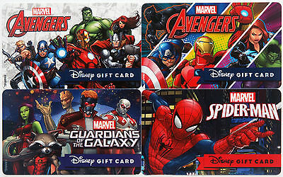 4 Disney Marvel Gift Cards: 2 Diff. Avengers, Guardians of the Galaxy, Spiderman
