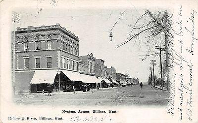 B59/ Billings Montana Mt Postcard 1907 Montana Avenue Stores Holmes Rixon (Billings Montana Stores)