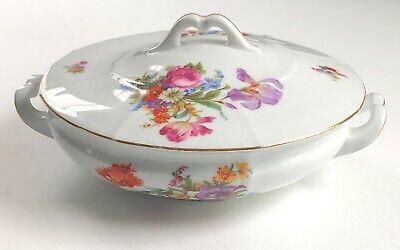 Eamag Bavaria Covered Vegetable Serving Dish Bowl Floral Gold Trim Porcelain
