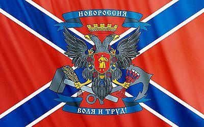 NOVO ROSSIA - Neu Russland Fahne & großem Wappen Gr. 1,50x0,90m & Ösen Flagge