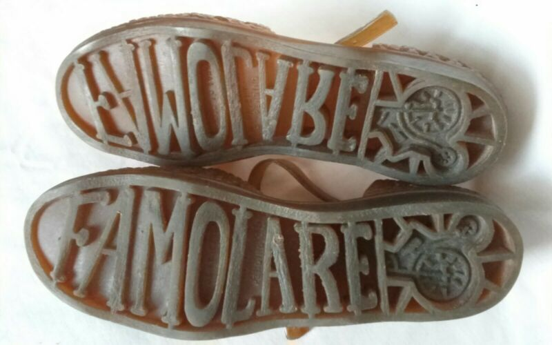 Vtg 1970s FAMOLARE 8.5 - 9 JELLIES SANDALS BROWN ORIG Italy SHOES T-STRAP Women