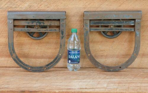 ANTIQUE BARN DOOR ROLLERS LARGE HORSESHOE ROLLERS / SET OF 2