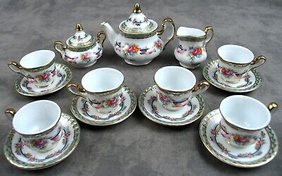 LIMOGES CHINA 15 Pc CHILDS MINIATURE TEA SET SERVICE FOR 6 Pink Rose