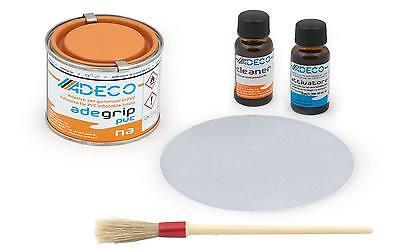 Adeco 2 Komponenten Schlauchboot Reparatur Set Grau Kleber Klebstoff Flicken