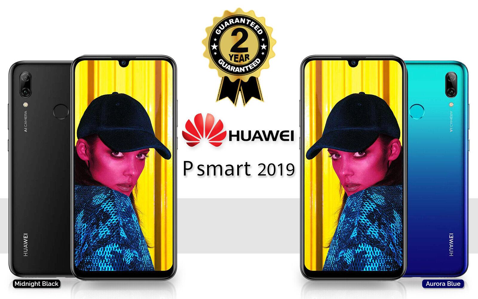 Android Phone - NEW HUAWEI P SMART 2019 DUAL SIM 64GB 4G LTE UNLOCKED PHONE SEALED BLACK BLUE