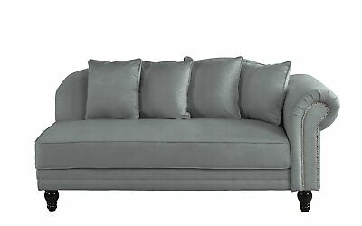 Large Classic Velvet Fabric Living Room Chaise Lounge, Nailhead Trim Dark Grey