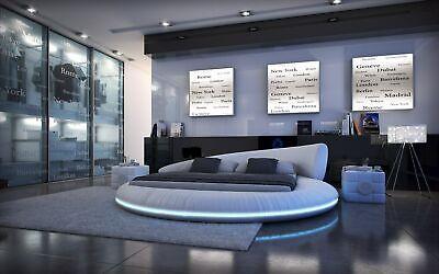 Rundbett MEZZO Design Polsterbett Designerbett mit rundum LED Beleuchtung blau