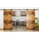 12 FT Country Dark Coffee Steel Double Sliding Barn Wood Door Hardware Track Set