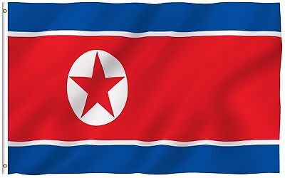 3X5 Foot North Korea Flag Canvas Header And Double Stitched