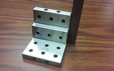 Angle Plate 3x3x3 Steppedprecision Ground W. Tapped Holes 0.0002 Pgap-3-in