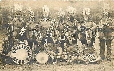 PHILIPSBURG INDIAN BAND ~MONTANA~ Historic Old RPPC / Photo Postcard, c. 1925