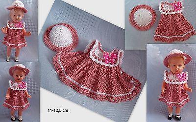Kleidchen mit Hut   für Püppchen 11-12 cm