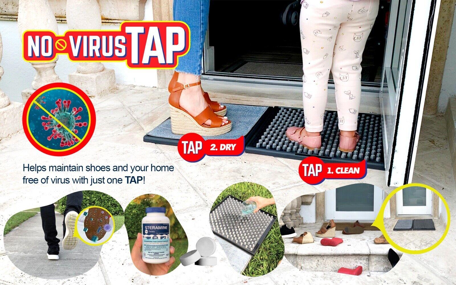 NO VIRUS TAP Shoe Sanitizing mat – 2 Step (SANITIZER INCLUDED)