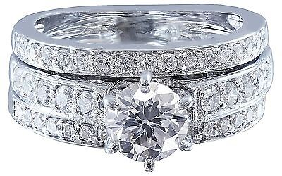 10k White Gold Round Cut Diamond Engagement Ring And Band Art Deco Bridal