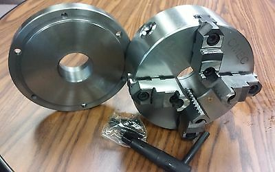 8 4-jaw Self-centering Lathe Chuck W. 2-14-8 Adaptor Back Mounting Plate-new