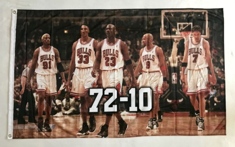 Chicago Bulls 72-10 3ftx5ft Flag Banner collectible item limited edition Jordan