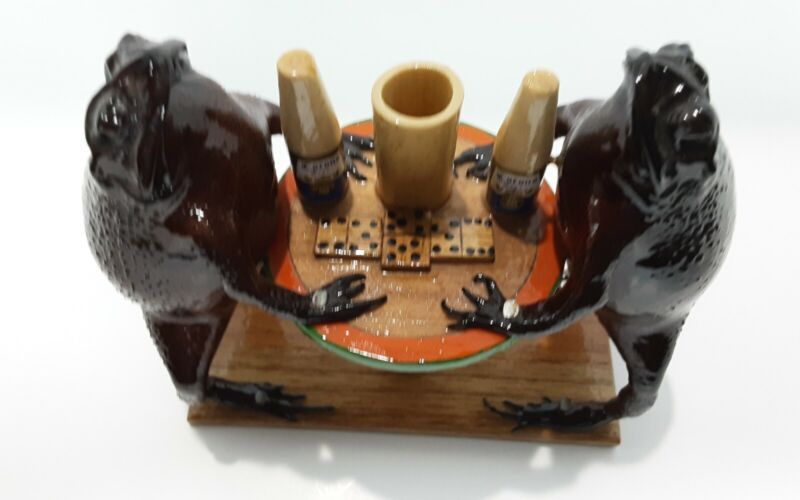 Mexican Folk Art Taxidermy Frogs Drinking Corona Beer And Playing Dominoes!