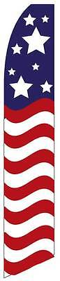 Stars Over Stripes Patriotic Feather Advertising Swooper Banner 12 Flag 15 Pole