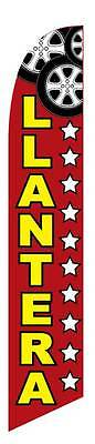 Windless Llantera Tire Shop Swooper Flag Advertising Sign 2.5 Wide Banner Only