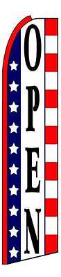Open Red White Blue Flutter Swooper Flag Advertising Sign 3 Wide Banner Only