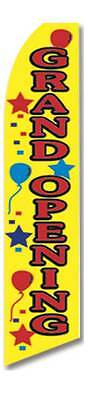Grand Opening Feather Flutter Advertising Swooper Banner 12 Flag 15 Pole