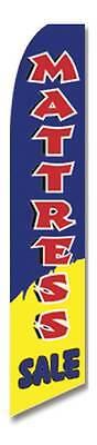 Mattress Sale Blue Flutter Swooper Advertising Sign 2.5 Wide Banner Flag Only