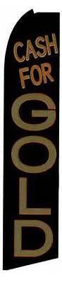 Cash For Gold Blackbrown Flutter Swooper Flag Advertising Sign 3 Wide Banner