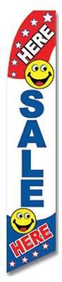 Sale Here Smiley Face Flutter Swooper Advertising Sign 2.5 Wide Banner Flag Onl