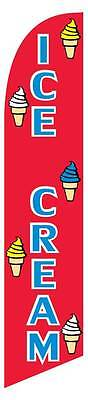 Windless Ice Cream Blue Red Swooper Flag Advertising Sign 2.5 Wide Banner Only