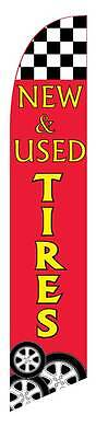 New Used Tires Windless Advertising Sign Swooper Flag And Pole Only 2.5 Wide