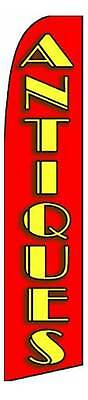 Antiques Red Advertising Feather Flutter Swooper 3 Ft Banner Flag And Pole Only