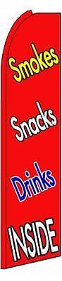 Smokes Snacks Drinks Inside Flutter Swooper Flag Advertising Sign 3� Wide Banner