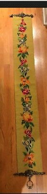 Vintage Embroidered Gold with Floral Tapestry Wall Decroative Hanging Brass Ends Gold Floral Tapestry