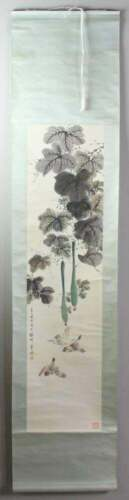 Preowned  Chinese scroll of watercolor painting, flower and birds
