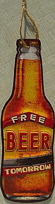 Free Beer Tomorrow Blechschild, 10,5 x 31 cm, flach, Motiv geprägt