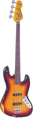 Vintage Brand V74MRJP Electric Bass Guitar Fretless Sunburst Finish