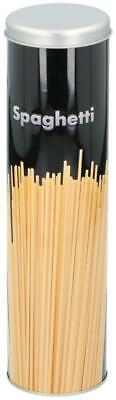 Black Embossed Metal Tall Round Dried Spaghetti Storage Tin Box Container