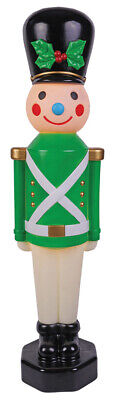 """42"""" Lighted Toy Soldier Green Christmas Vintage Look Blow Mold Outdoor Yard Deco"""