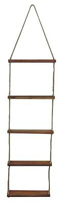 G4760: Strickleiter, Hängeleiter mit Holzstufen, Deko Leiter, Jute 175 cm