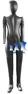 Inflatable Child Mannequin Full-size With Head Arms Matte Black