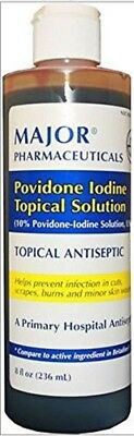 Major Povidone Iodine Topical Antiseptic Solution 10% 8 oz 10 Povidone Iodine Solution