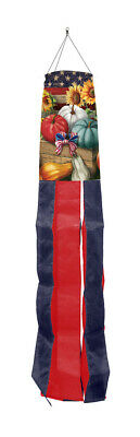 "Patriotic Pumpkins Autumn Windsock Sunflowers USA Primitive 50""L Briarwood Lane"
