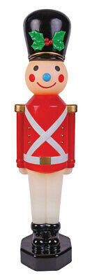 """42"""" Lighted Toy Soldier Red Christmas Vintage Look Blow Mold Outdoor Yard Decor"""