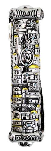 Silver & Gold Plated LARGE MEZUZAH CASE - JERUSALEM - Jewish Judaica Home